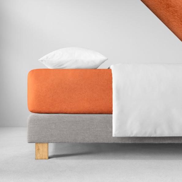 Spannbetttuch Samt-Velours | terracotta 180-200 (Breite) x 200 (Länge)