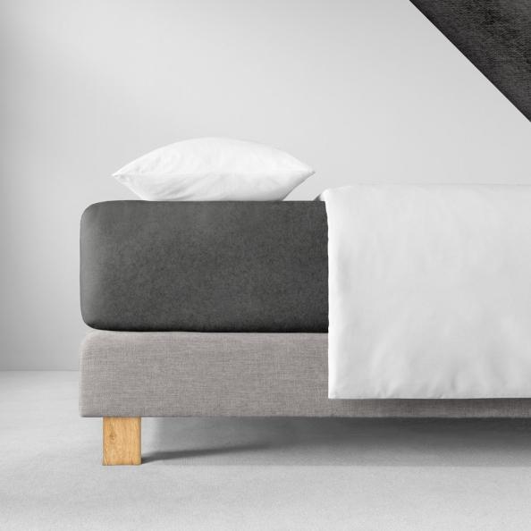 Spannbetttuch Samt-Velours | schiefer 90-100 (Breite) x 190-200 (Länge)