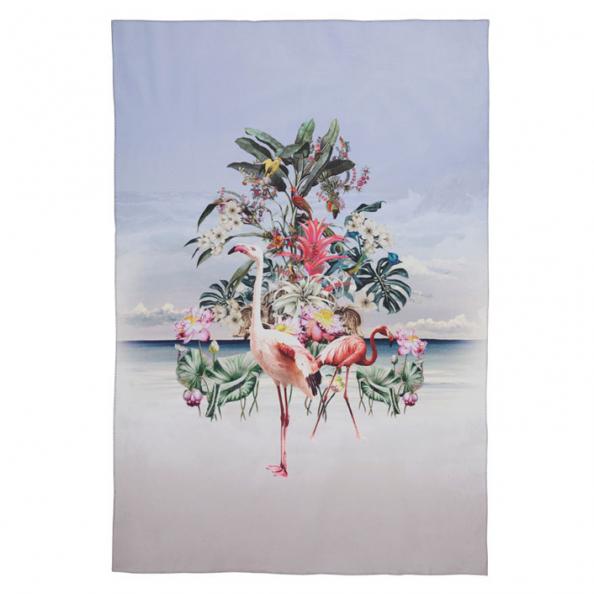 Wohndecke Flamingo | hellblau