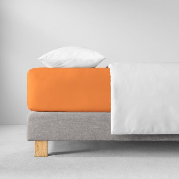 Spannbetttuch Zwirnjersey | orange 90-120 (Breite) x 200-220 (Länge)