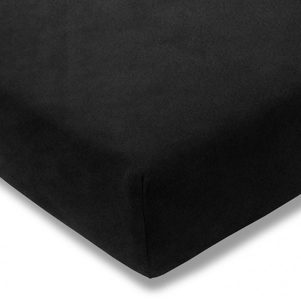 Spannbetttuch Samt-Velours | schwarz 90-100 (Breite) x 190-200 (Länge)