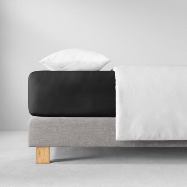 Spannbetttuch Zwirnjersey | schwarz 90-120 (Breite) x 200-220 (Länge)