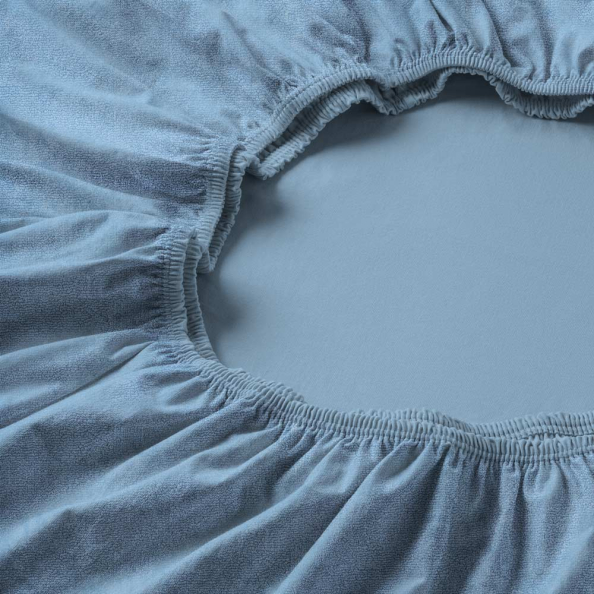 Spannbetttuch Samt-Velours | hellblau 90-100 (Breite) x 190-200 (Länge)
