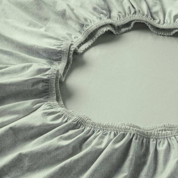 Spannbetttuch Samt-Velours | verde 90-100 (Breite) x 190-200 (Länge)