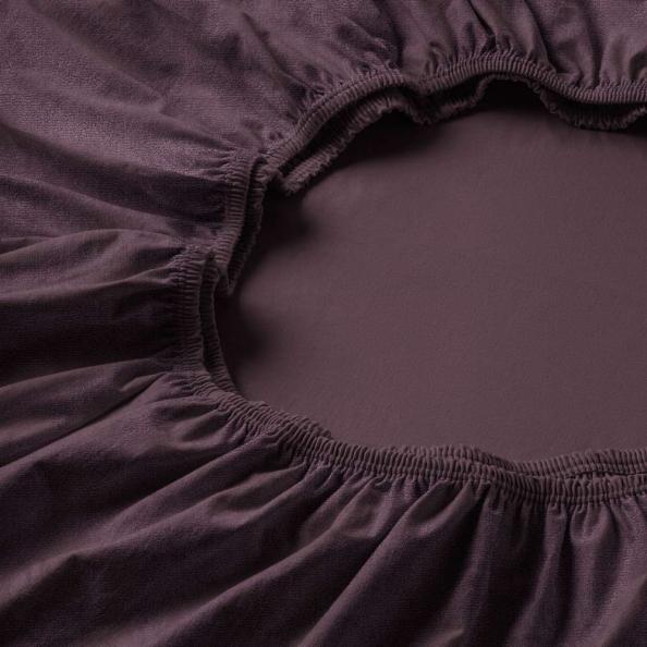 Spannbetttuch Samt-Velours | aubergine 180-200 (Breite) x 200 (Länge)