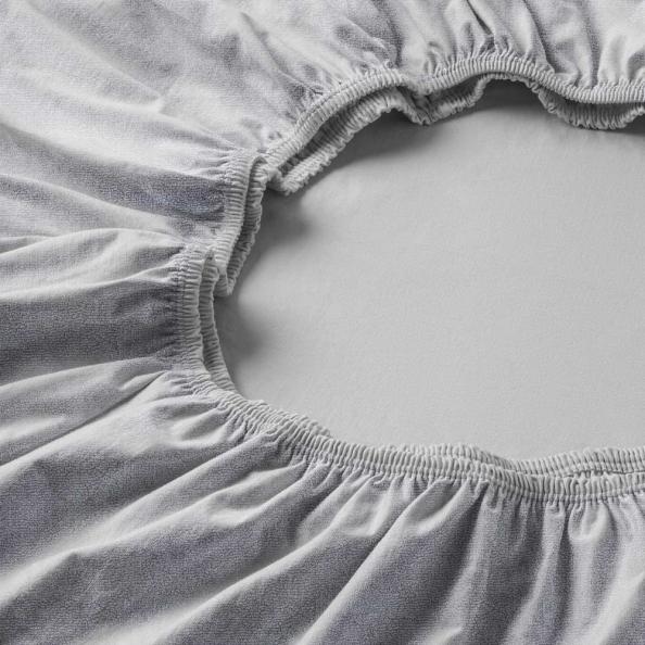 Spannbetttuch Samt-Velours | platin 90-100 (Breite) x 190-200 (Länge)