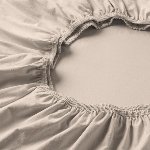 Spannbetttuch Zwirnjersey | beige 90-120 (Breite) x 200-220 (Länge)
