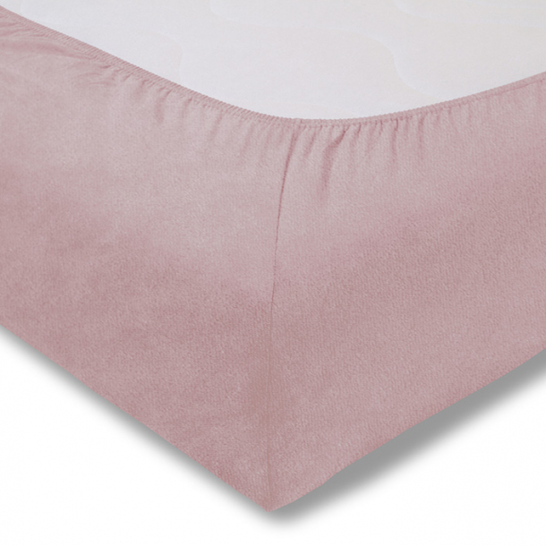 Spannbetttuch Samt-Velours | rosa 90-100 (Breite) x 190-200 (Länge)